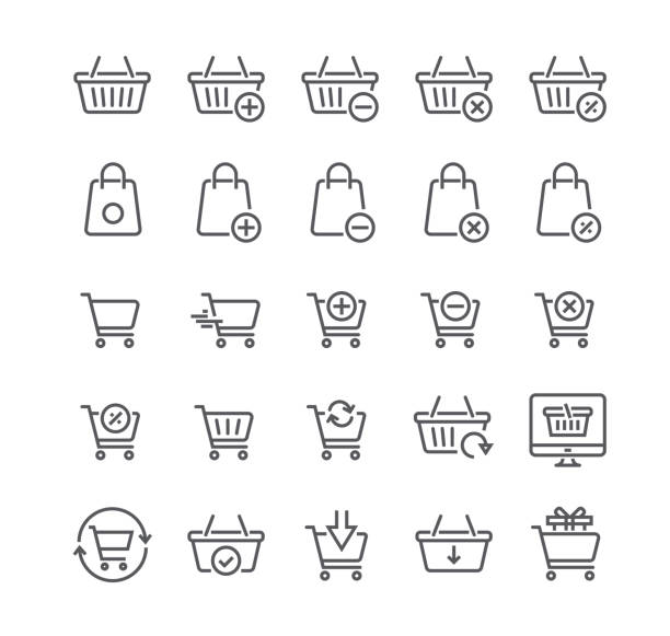 illustrazioni stock, clip art, cartoni animati e icone di tendenza di editable simple line stroke vector icon setshopping cart related vector line icons. contains such icons as express checkout, m-commerce, add, delete, refresh and more.48x48 pixel perfect. - icona supermercato