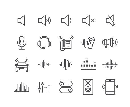 Editable simple line stroke vector icon set,Sound Voulme Process, audio wave, soundbeat, speaker and more. 48x48 Pixel Perfect.