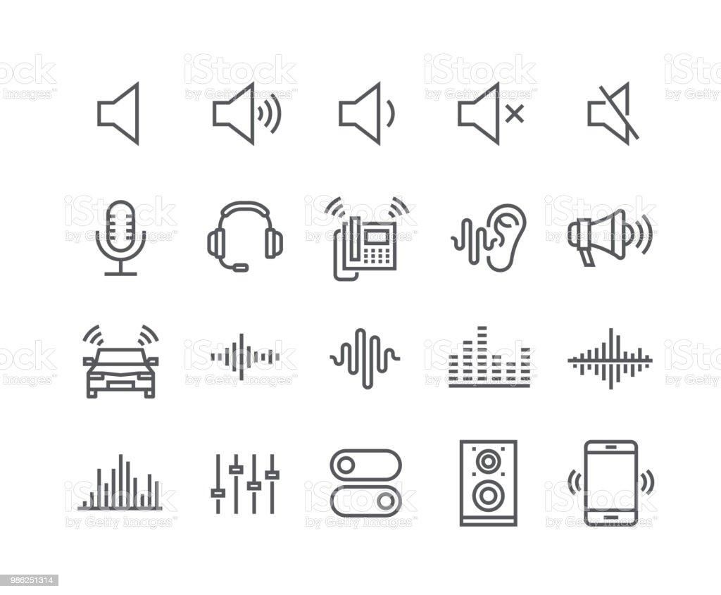 Editierbare einfache Linie Schlaganfall Vektor Icon-Set, Sound Voulme Prozess, Audiowelle, Soundbeat, Lautsprecher und vieles mehr. 48 x 48 Pixel perfekt. – Vektorgrafik