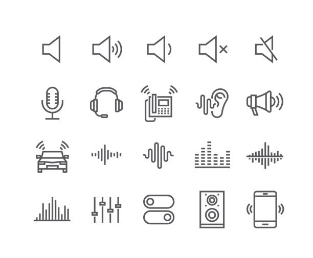 editable simple line stroke vector icon set,sound voulme process, audio wave, soundbeat, speaker and more. 48x48 pixel perfect. - hałas stock illustrations