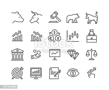 Editable simple line stroke vector icon set,Stock Exchange Bear Bull and Finance and Graph Analytics and more. 48x48 Pixel Perfect.