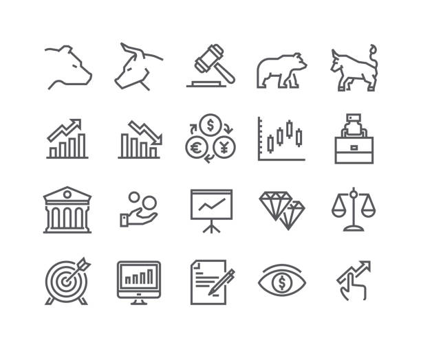 editable simple line stroke vector icon set,stock exchange bear bull and finance and graph analytics and more. 48x48 pixel perfect. - handlować stock illustrations