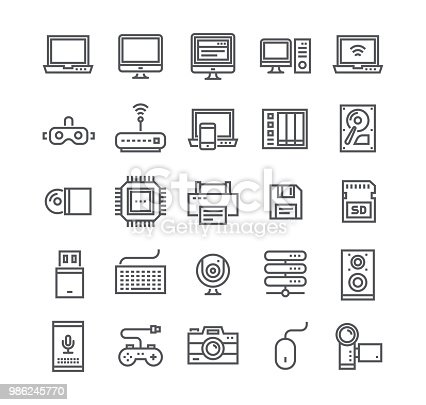 Editable simple line stroke vector icon set,Tech computer and various device laptops, routers, voice secretaries, cameras and more..48x48 Pixel Perfect.
