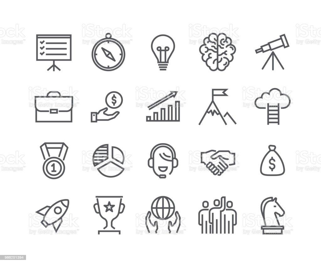 Conjunto de icono de vector de movimiento editables de línea simple, arranque Universal, carrera, misión, trabajo en equipo, premios y mucho más. 48 x 48 Pixel Perfect. - ilustración de arte vectorial