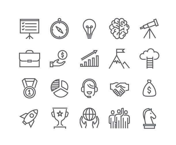 Editable simple line stroke vector icon set,Universal startup, Career, Misson, Teamwork, Business Awards and more. 48x48 Pixel Perfect. vector art illustration