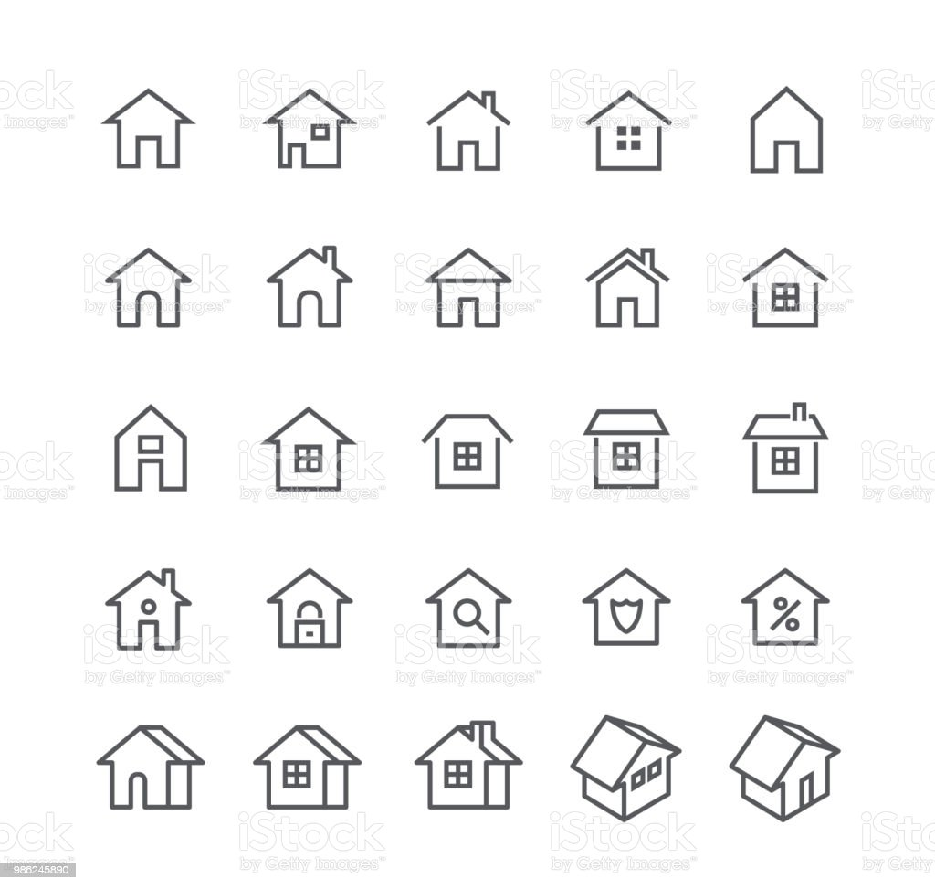 Editable simple line stroke vector icon set,Various styles of home, logos, apps, wordpress, safety, security, real estate and more.48x48 Pixel Perfect. - Векторная графика Аренда дома роялти-фри