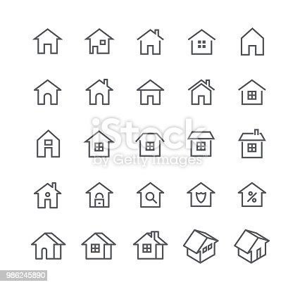 Editable simple line stroke vector icon set,Various styles of home, logos, apps, wordpress, safety, security, real estate and more.48x48 Pixel Perfect.