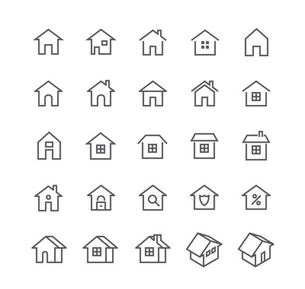 illustrazioni stock, clip art, cartoni animati e icone di tendenza di set di icone vettoriali di tratti di linea semplici modificabili, vari stili di casa, loghi, app, wordpress, sicurezza, sicurezza, immobiliare e altro ancora.48x48 pixel perfect. - casa