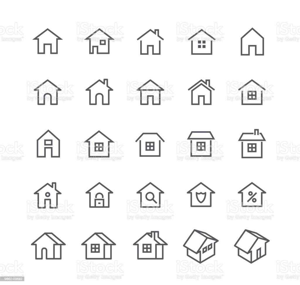 Conjunto de icono de vector de movimiento editables de línea simple, varios estilos del hogar, logos, aplicaciones, wordpress, seguridad, seguridad, bienes raíces y more.48x48 Pixel Perfect. - ilustración de arte vectorial