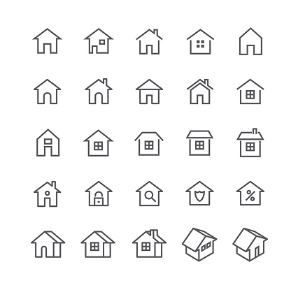 Editable Simple Line Stroke Vector Icon Setvarious Styles Of Home Logos Apps Wordpress Safety Security Real Estate And More48x48 Pixel Perfect — стоковая векторная графика и другие изображения на тему Аренда дома