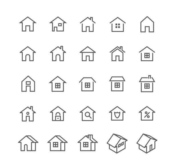editable simple line stroke vector icon set,various styles of home, logos, apps, wordpress, safety, security, real estate and more.48x48 pixel perfect. - suburbs stock illustrations