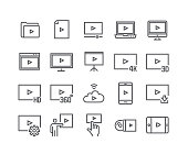 Editable simple line stroke vector icon set,Video Player, Video Streaming 4k,3D,HD TV and more. 48x48 Pixel Perfect.