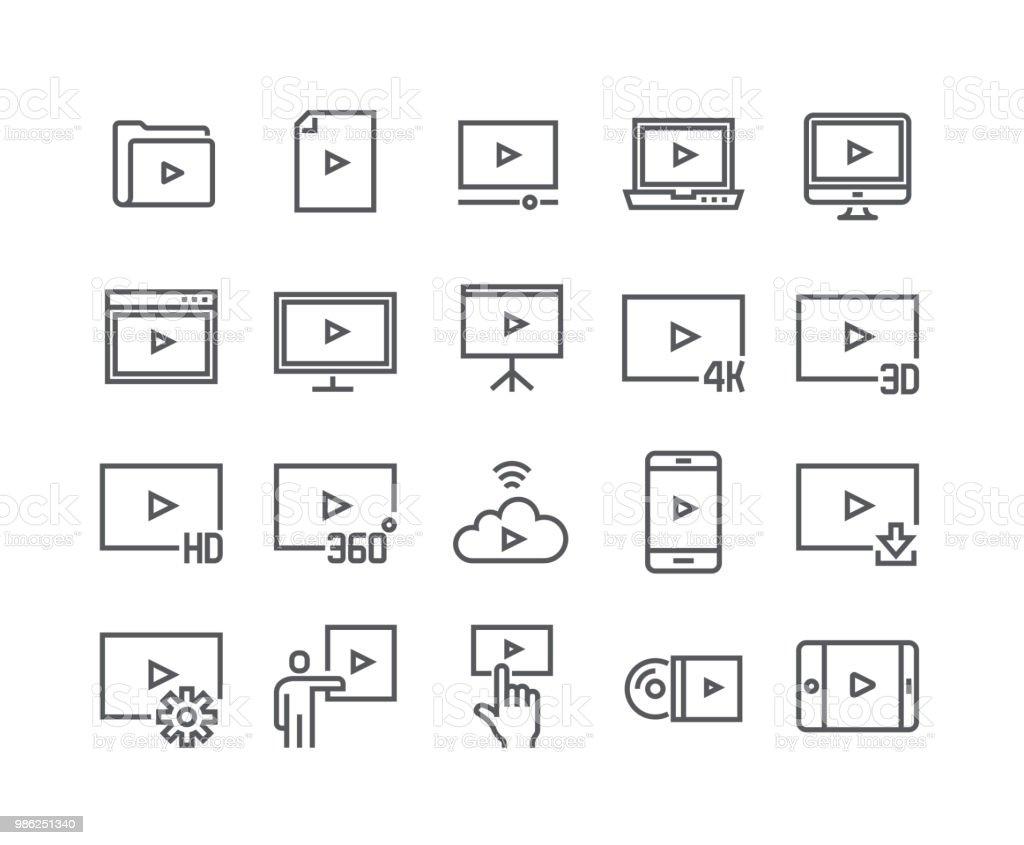 Ligne simple modifiable AVC vecteur de jeu d'icônes, Video Player, Streaming vidéo 4k, 3D, HD TV et bien plus encore. 48 x 48 pixels parfait. - Illustration vectorielle