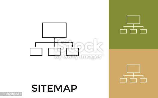 Editable Sitemap Thin Line Icon with Title. Useful For Mobile Application, Website, Software and Print Media.