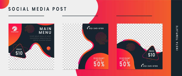 bearbeitbare social-media-post-frame-vorlage. - post stock-grafiken, -clipart, -cartoons und -symbole