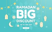 Editable social media templates for promotions on the Ramadan sale. Set of social media story and post frames. Layout design for marketing on social media. Social media cover background