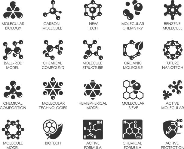 editable stroke. 48x48 pixel perfect 20 icons in flat style for scientific, chemistry, physical, medical, educational projects. vector abstract black logo isolated - bio tech stock illustrations, clip art, cartoons, & icons