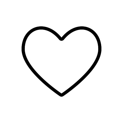 Editable stroke. Black heart line icon isolated on a white background.