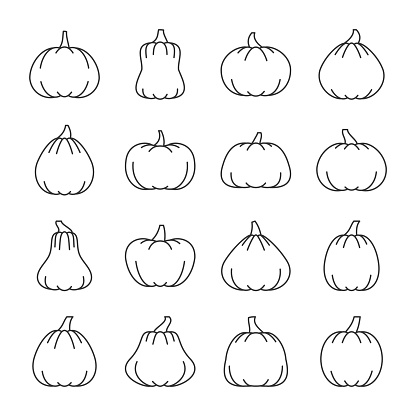 Editable stroke Halloween pumpkin line icon set