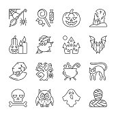 Halloween thin line icon set. Vector linear symbol pack. Outline sign without fill. Editable stroke. Simple pictogram graphic collection. icon concept for web design infographic business style