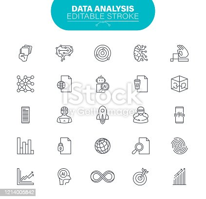 Big Data, Artificial Intelligence, Statistics, Outline Icon Set