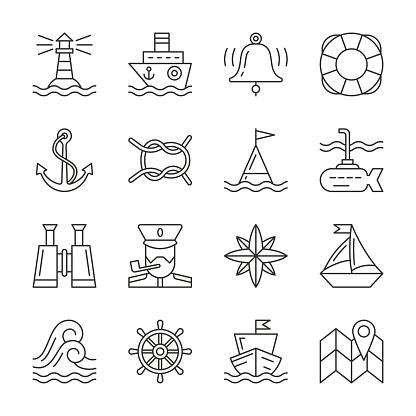 Editable stroke Marine Nautical line icon set