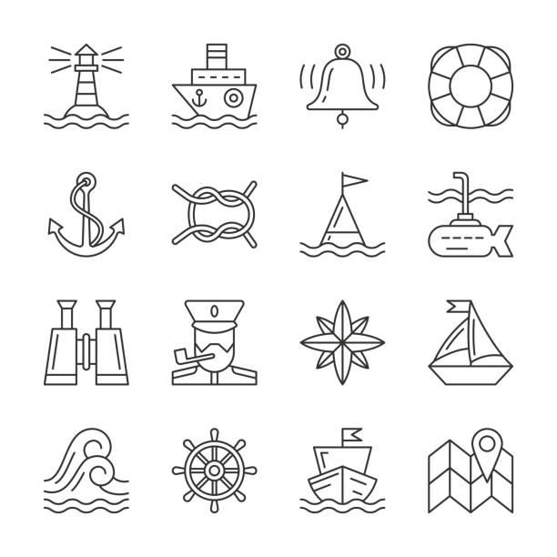 editable stroke marine nautical line icon set - uderzać stock illustrations