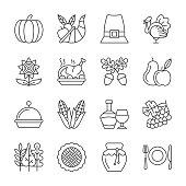 Editable stroke Thanksgiving day line icon set