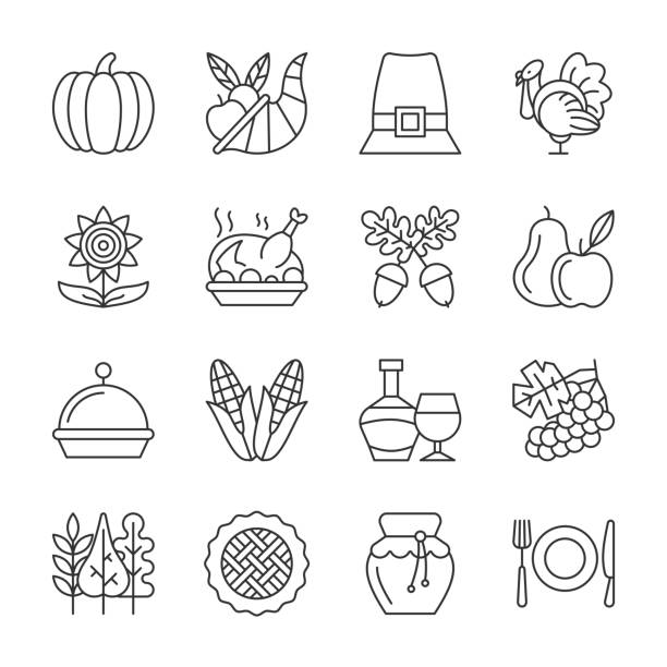 editable stroke thanksgiving day line icon set - thanksgiving turkey stock illustrations