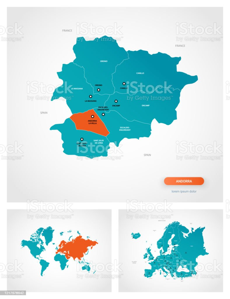 Picture of: Editable Template Of Map Of Andorra With Marks Andorra On World Map And On Europe Map Stock Illustration Download Image Now Istock