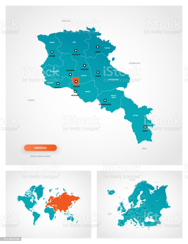 Editable Template Of Map Of Armenia With Marks Armenia On World Map And On Europe Map Stock Illustration Download Image Now Istock
