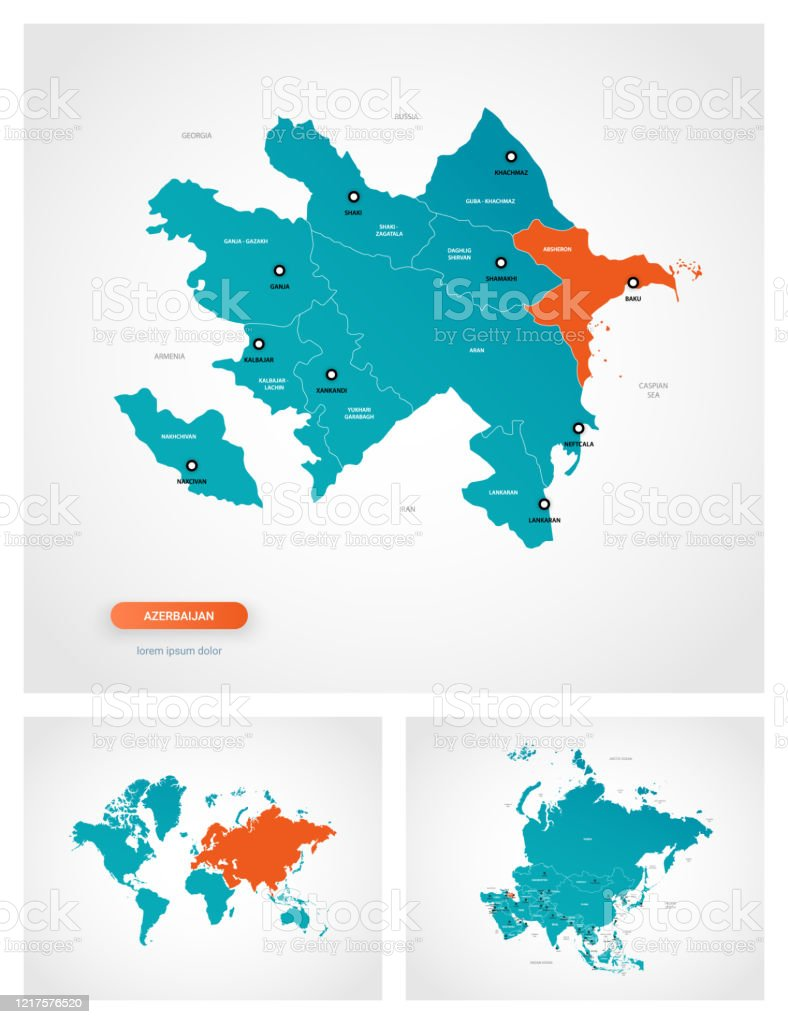Picture of: Editable Template Of Map Of Azerbaijan With Marks Azerbaijan On World Map And On Asia Map Stock Illustration Download Image Now Istock
