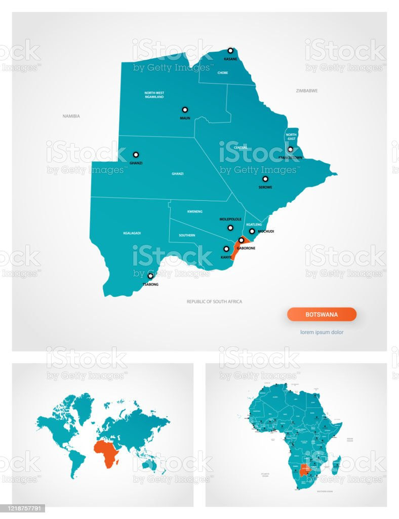 Picture of: Editable Template Of Map Of Botswana With Marks Botswana On World Map And On Africa Map Stock Illustration Download Image Now Istock