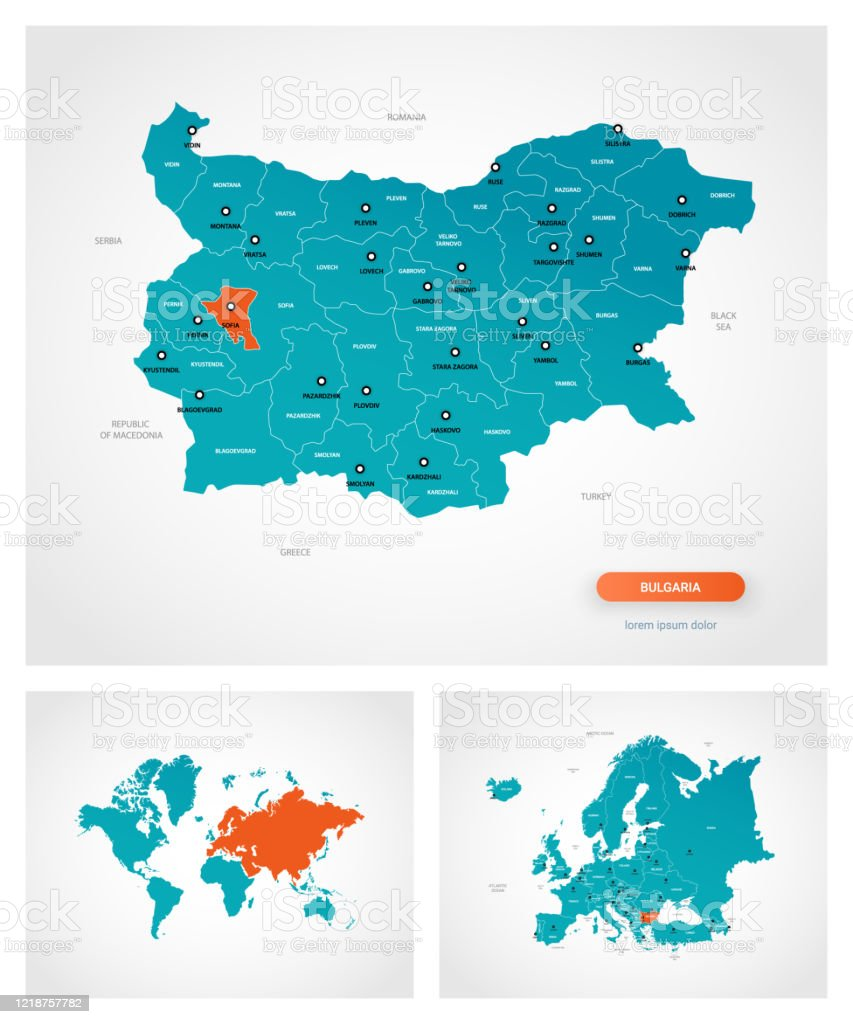 Picture of: Editable Template Of Map Of Bulgaria With Marksbulgaria On World Map And On Europe Map Stock Illustration Download Image Now Istock