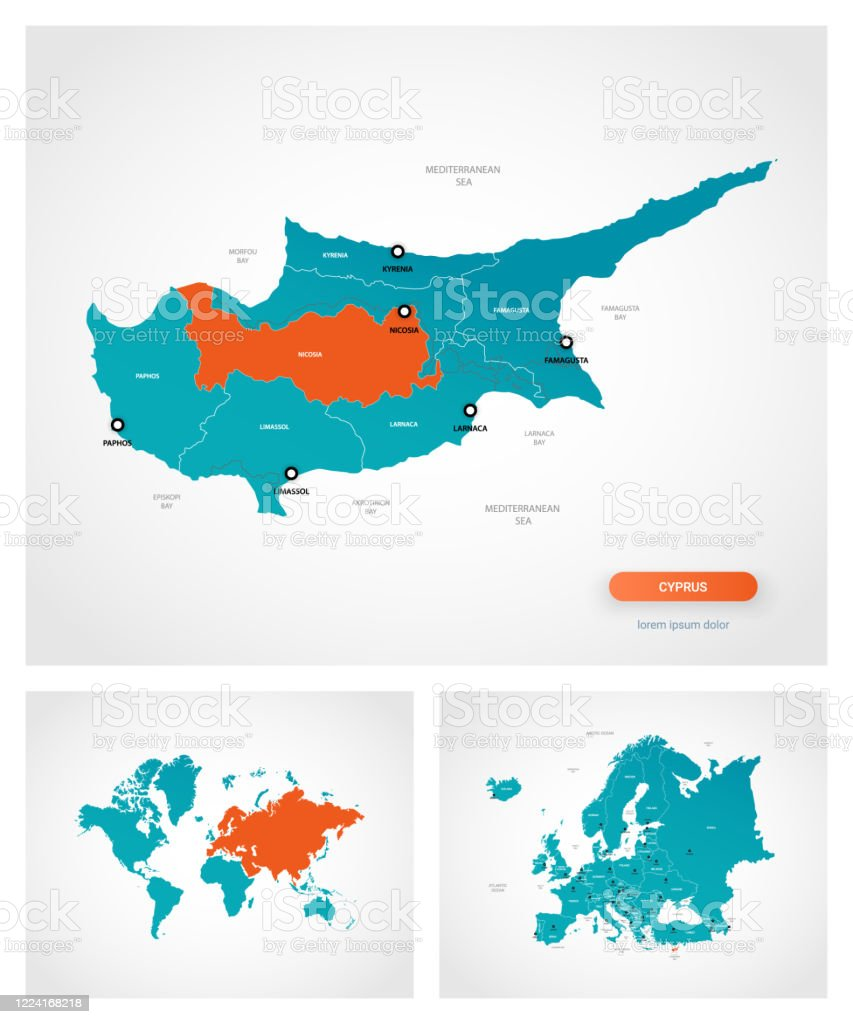 Picture of: Editable Template Of Map Of Cyprus With Marks Cyprus On World Map And On Asia Map Stock Illustration Download Image Now Istock