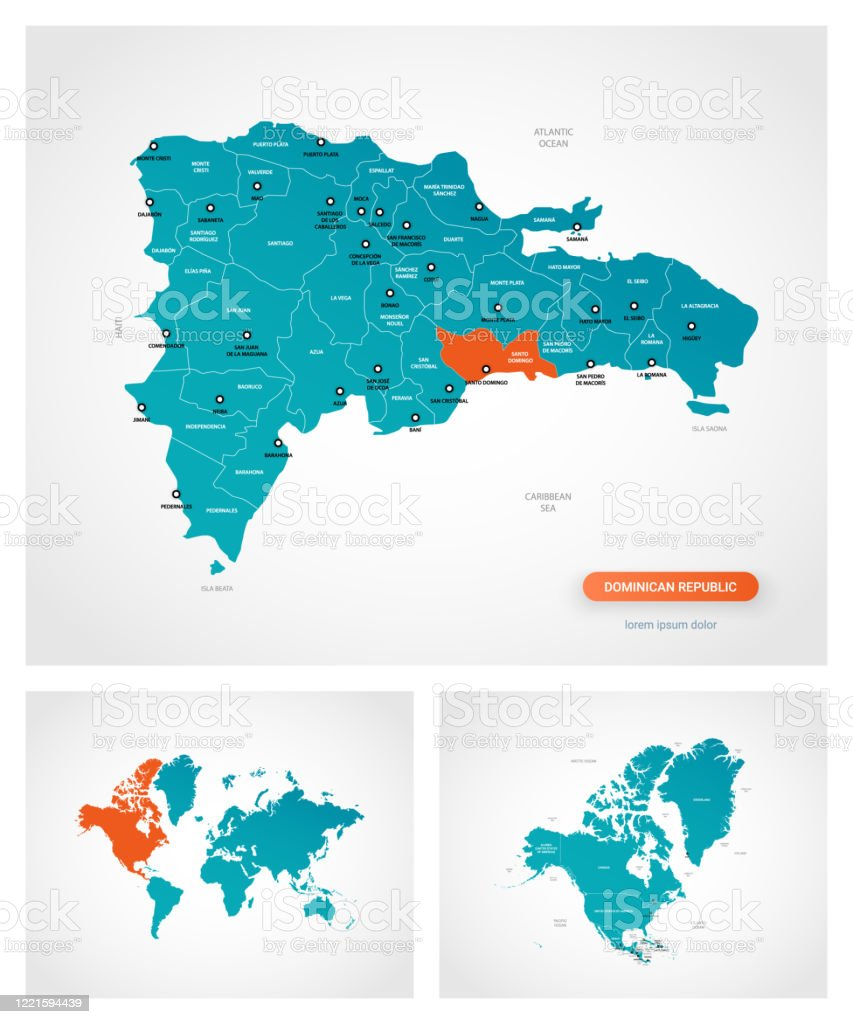 Picture of: Editable Template Of Map Of Dominican Republic With Marks Dominican Republic On World Map And On North America Map Stock Illustration Download Image Now Istock