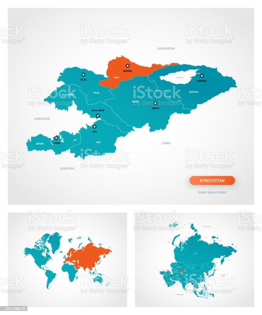 Picture of: Editable Template Of Map Of Kyrgyzstan With Marks Kyrgyzstan On World Map And On Asia Map Stock Illustration Download Image Now Istock