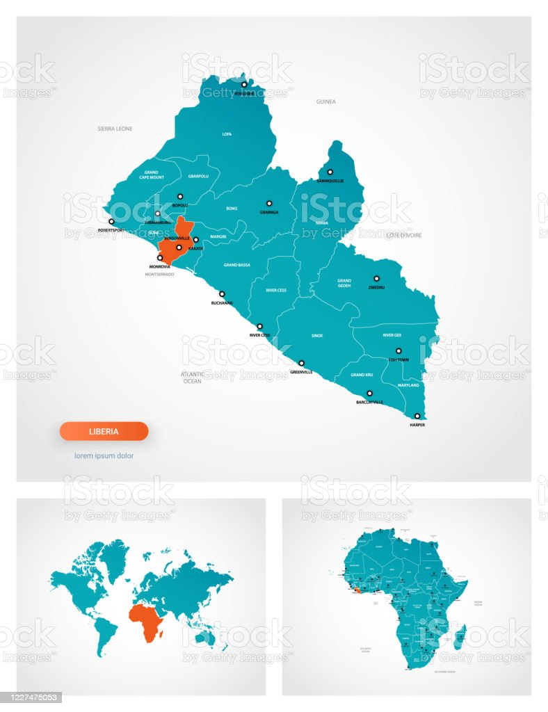 Image of: Editable Template Of Map Of Liberia With Marks Liberia On World Map And On Africa Map Stock Illustration Download Image Now Istock