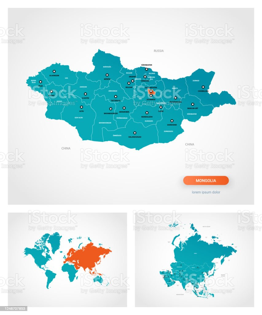 Editable Template Of Map Of Mongolia With Marks Mongolia On World Map And On Asia Map Stock Illustration Download Image Now Istock