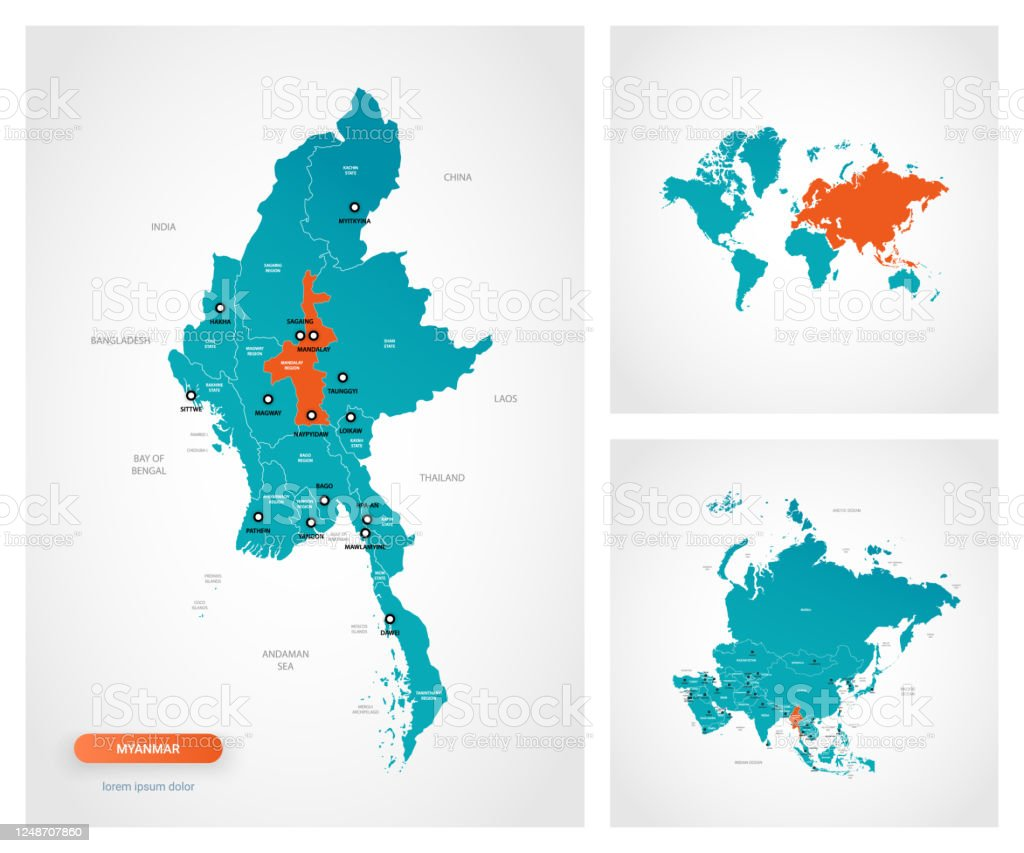 Editable Template Of Map Of Myanmar Burma With Marks Myanmar Burma On World Map And On Asia Map Stock Illustration Download Image Now Istock