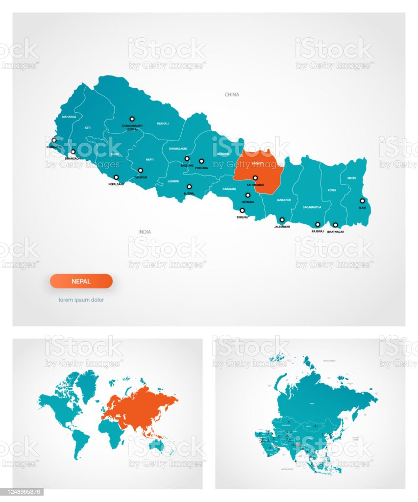 Image of: Editable Template Of Map Of Nepal With Marks Nepal On World Map And On Asia Map Stock Illustration Download Image Now Istock