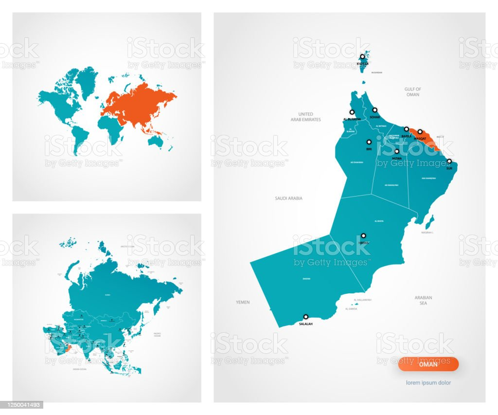 Image of: Editable Template Of Map Of Oman With Marks Oman On World Map And On Asia Map Stock Illustration Download Image Now Istock