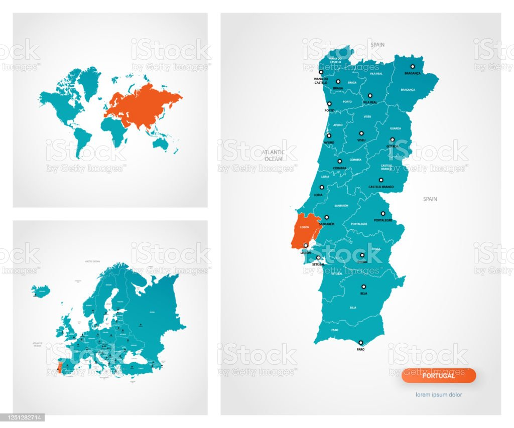 Picture of: Editable Template Of Map Of Portugal With Marks Portugal On World Map And On Europe Map Stock Illustration Download Image Now Istock