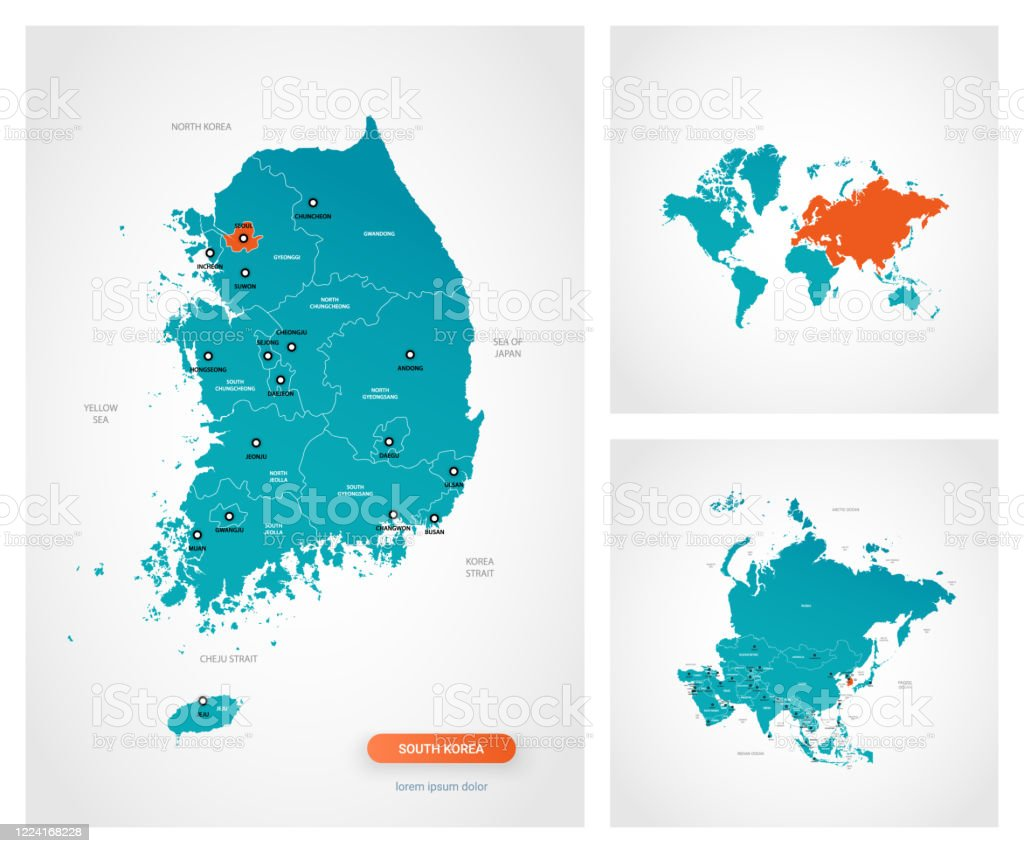 Editable Template Of Map Of South Korea With Marks South Korea On World Map And On Asia Map Stock Illustration Download Image Now Istock