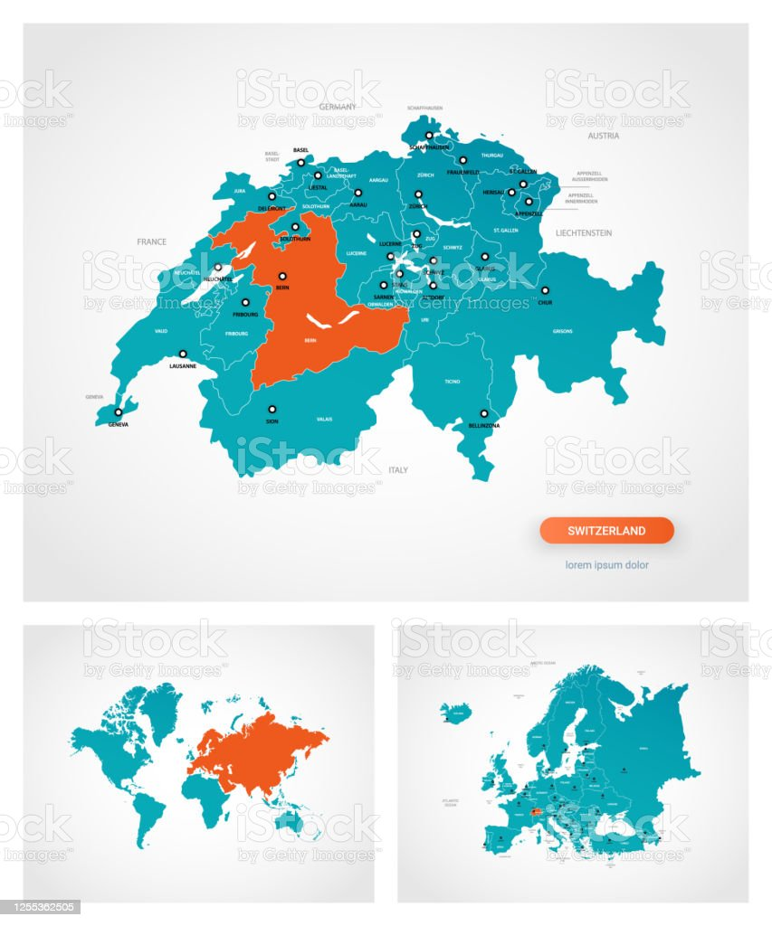 Picture of: Editable Template Of Map Of Switzerland With Marks Switzerland On World Map And On Europe Map Stock Illustration Download Image Now Istock