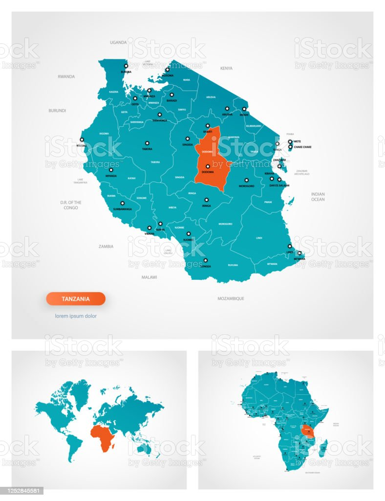 Image of: Editable Template Of Map Of Tanzania With Marks Tanzania On World Map And On Africa Map Stock Illustration Download Image Now Istock
