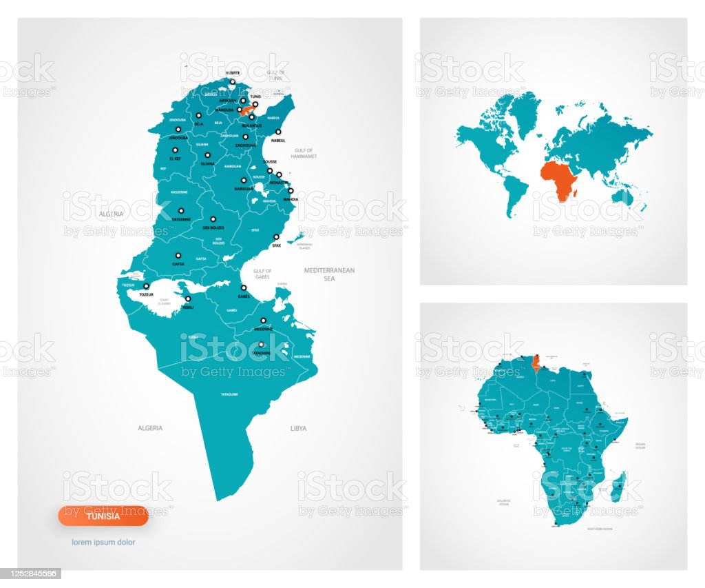 Picture of: Editable Template Of Map Of Tunisia With Marks Tunisia On World Map And On Africa Map Stock Illustration Download Image Now Istock