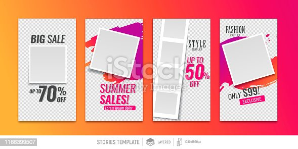 Editable templates for social media stories. Instagram story. background brush strokes. Place for your photo and text. Vector design