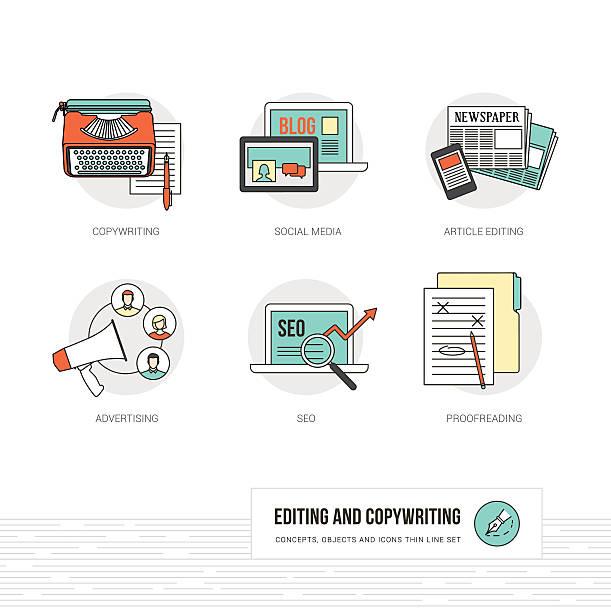 bearbeitung und coywriting - korrekturlesen stock-grafiken, -clipart, -cartoons und -symbole