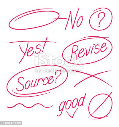 Editing selection pen circle revision handwriting English grammar and spelling abstract highlight ideas.